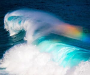 waves, rainbow, and sea image