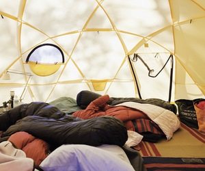 camping, sleeping bags, and tent image