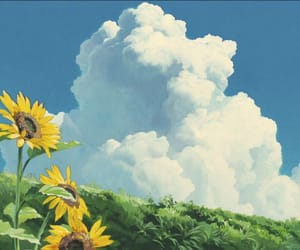 flowers, sky, and anime image