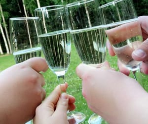 champagne, cottage, and drinks image