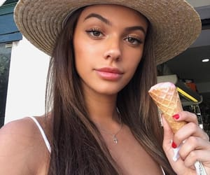 brown hair, hat, and ice cream image