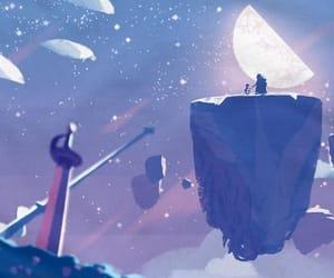 Flying, galaxy, and Island image