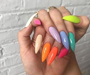 nails, orange, and rainbow image