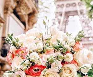 eiffel tower, flowers, and paris image