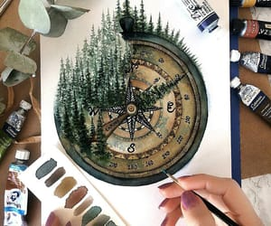 watercolor, art, and compass image