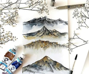 art, flowers, and mountain image