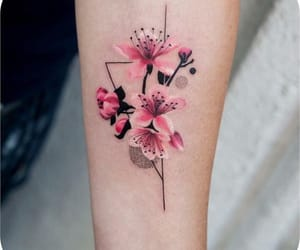 tattoo, flower, and pink image