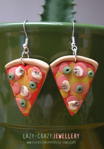 earrings, fimo, and pizza image