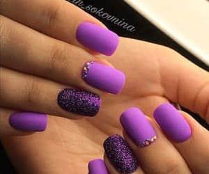 belleza, nails, and purple image