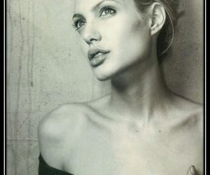 90's, black and white, and Angelina Jolie image