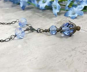 crystal necklace, etsy, and sapphire necklace image