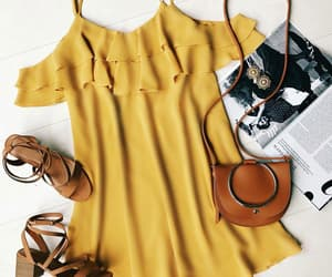 camel, yellow, and dress image