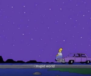 homer, purple, and sad image