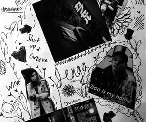 art, black and white, and Collage image