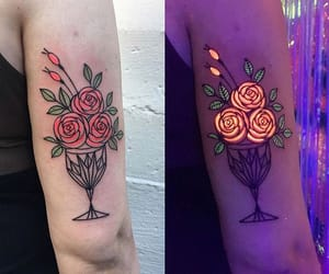 flowers, roses, and neon image