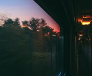train, sunset, and travel image