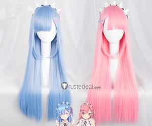 anime cosplay, re zero wig, and pink blue wigs image