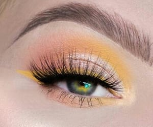 green eyes, makeup, and yellow image