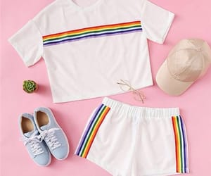 outfit, rainbow, and shorts image