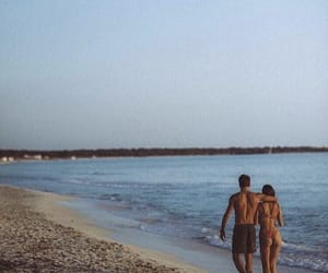 beach, couple, and couple goals image