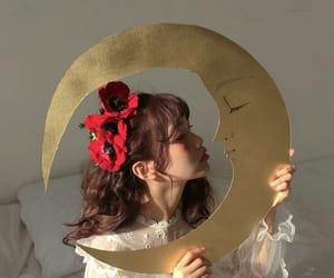 girl, moon, and aesthetic image