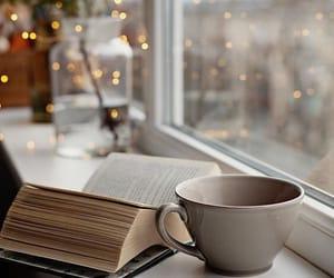 books, coffee, and lights image