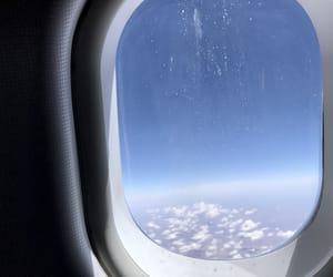 airplane window, travel, and airplane image