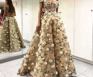 dress, fashion, and golden image