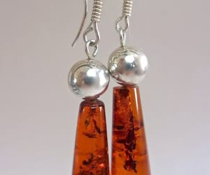 etsy, cognac amber earring, and sterling silver image
