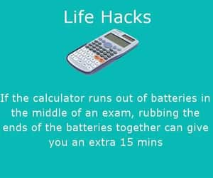 batteries, life hack, and exam or test image