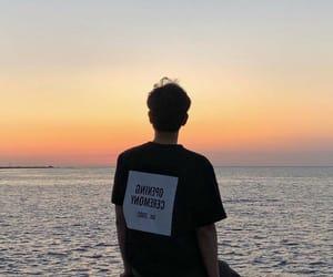 boy, beach, and ocean image