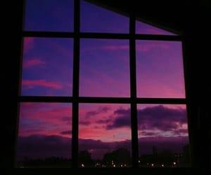 window, sky, and purple image