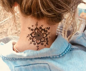tattoo, neck, and flowers image