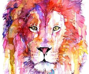 art, colors, and lion image