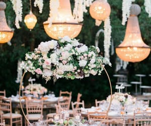 beauty, centerpieces, and chandelier image