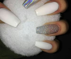 nails, white, and long image