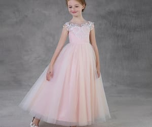tulle dress, blushing pink dress, and little girl dress image
