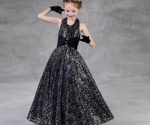 black dress, Prom, and little girl dress image