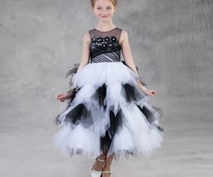 black white, unique dress, and little girl dress image