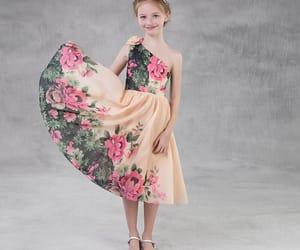 chiffon dress, little girl dress, and champagne dress image