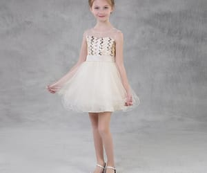 fashion, champagne dress, and little girl dress image