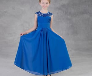 lace, simple dress, and royal blue dress image