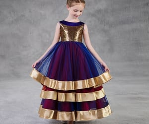 gold, flower girl dress, and wedding party dress image
