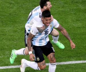 leo messi, 2018, and marcos rojo image