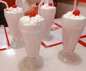 milkshake, cherry, and pink image