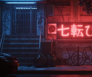 city life, city lights, and cyberpunk image