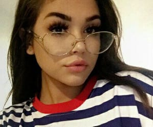 maggie lindemann, glasses, and makeup image