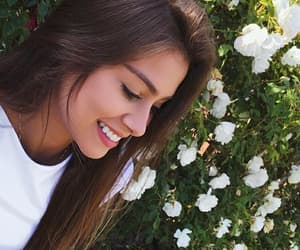 beautiful, brown hair, and flowers image