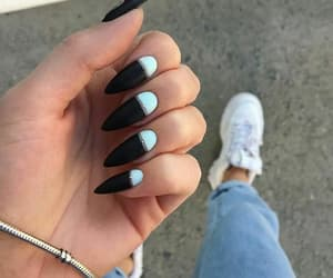 black and white, stiletto, and nails image