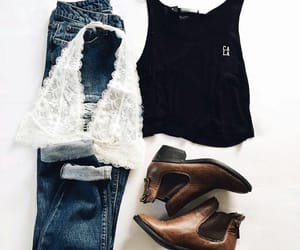boots, clothes, and lace image